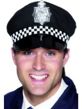 Police Panda Hat Fancy Dress Cop Cap & Badge Black/White New by Smiffys