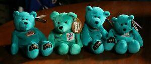 Miami Dolphins Dan Marino 4 Plush Bear Lot NFL Football Bean Bag Toy Lot of 4