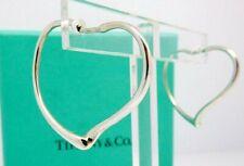 Tiffany Elsa Peretti Open Heart Hoop Earrings in Sterling Silver