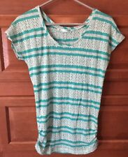 MAURICES small Womens Sheer Blouse Top shirt Teal Turquoise Striped Sweater