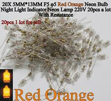 20X 5X13 F5 5mm Neon Bulb Indicator Lamps Red Orange Neon Light Sign W/ Resistor