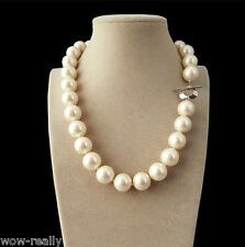 Shell Pearl Round Beads Necklace 18''New Genuine Natural 14mm White South Sea