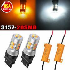 LED Switchback Light 3020 White Amber 7443 Two Bulbs Resistor F Turn Signal DRL