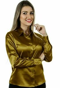 Women Satin Work Casual Office Shirt Button Down Solid Collar Blouse Top - Gold