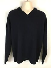 J. Crew Men's Wool Sweater  V Neck Long Sleeves Solid Blue Size S Pre-owned