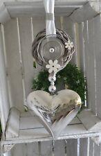 Fensterdeko XL Edelstahlherz Weidenkranz Perle  20x20 cm weiß/silber/natur