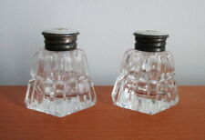 Art Deco Glass Salt Pepper Shakers Silver Plate Mother of Pearl Button Top MOP