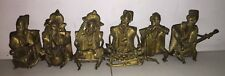 Vtg African Brass Sculpture of a Man Playing Musical Instruments (Lot of 6)