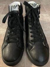 Armani Jeans HJ Nero Black High Top AJ Logo Sneakers Men's Size 10