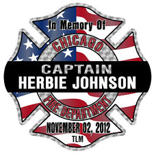 """Chicago Fire Department Decal Captain Herbie Johnson 4"""""""