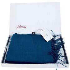 BRIONI $825 Authentic New Designer Mens 100% Cashmere Scarf medium blue