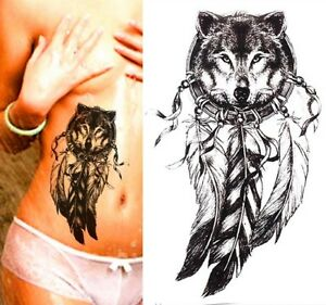 Temporary Tattoo Large Black Wolf Dreamcatcher Feathers Waterproof Fake