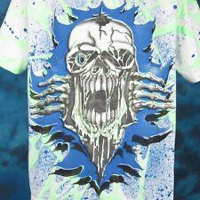 04d26f19 vintage 90s SKELETON CARTOON ALL-OVER PRINT T-Shirt LARGE skull biker punk  skate