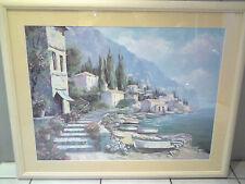 Ölbild-Bild-Gemälde-hinter Glas-signiert-italienisches Fischerdorf - Dekoration