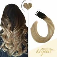 Ugeat Balayage Remy Tape in Human Hair Extensions Black to Blonde 50gr 20pcs