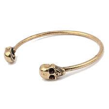 Alloy Metal Popular Cool Cuff Skeleton Skull Gothic Rock Bangle Bracelet Gold