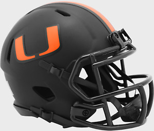 MIAMI HURRICANES NCAA Riddell SPEED MINI Football Helmet BLACK ECLIPSE