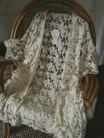 M Lace Romantic Boho Bohemian Kimono Top Medium Ivory Vintage Style Cardigan