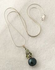 VINTAGE SILVER 925 BLUE GREEN DROP PEARL & PERIDOT NECKLACE - 20 INCHES LONG