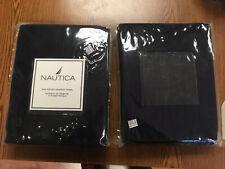 "TWO NAUTICA Rod Pocket Window DRAPERY PANELS NAVY 42"" x 84"" 80% Cotton 20% Linen"