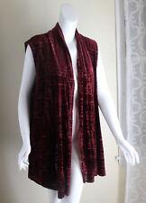 Susan Graver -Sz 3X Wine Velvet Draping Velvet Devore Waistcoat Lagenlook Vest