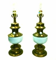 Pair of vintage lamps. Colonial brass and enamel. French blue/powder blue.