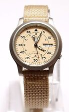 SEIKO 5 SNK803K2 Fabric Band Automatic Men's Tan Watch 100% New