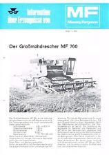 Massey Ferguson - Mähdrescher MF 760, orig. techn. Broschüre 1974