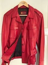 Ladies Red NAPPA LEATHER Belted Jacket, Size 12/14, Exc Cond