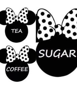 Minnie Coffee Tea Sugar Canister Jar Vinyl Stickers Cusom Disney Inspired Decals
