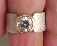HAND CRAFTED 14k White & Yellow Gold Ring with Round Cut C Z Stone     ((626))