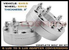 "2Pc 6x5.5 To 5x4.5 Conversion 2"" Wheel Adapters Jeep Ford Wheels On Chevy Toyota"