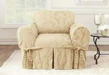 Matelasse Damask One Piece box cushion Chair Slipcover tan