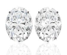 Diamond Solitaire Studs: 1ct Certified D IF VG Oval Shape Diamonds in Platinum