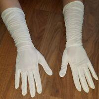Vtg Mid Length Ivory Ladies Dress Gloves Opera Princess Sheer Scrunch Small