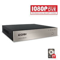 ZOSI 8 CH Channel DVR 1080p HD with Hard Drive 2TB for Security Camera System