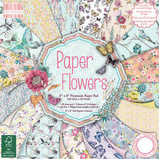 "8"" x 8"" 48 Sheet Full Pad PAPER FLOWERS Card Making Scrapbook Craft Paper"
