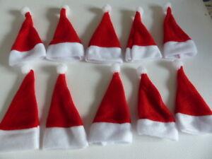 1 lot de 10 Bonnets de Noël Décoration Neufs