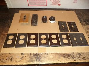 Vintage Bakelite Light Switches + Plates + Outlet Covers brass cover push button