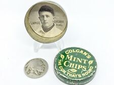 Vintage Colgan's Chips Gum Tin Baseball Card Lange White Sox Advertising Antique