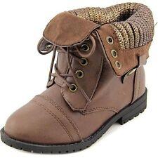 Cute Sarah Jayne Karen T Girl's Dark Brown Mid Calf Combat Boots Size 10 M