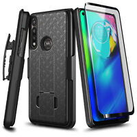 For Motorola Moto G Power 2020 Case Armor Belt Clip Slim Cover + Tempered Glass