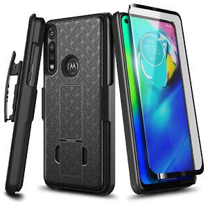 For Motorola Moto G Power Case Slim Belt Clip Holster Phone Cover+Tempered Glass