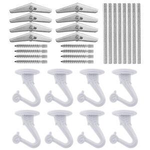 Set of 8 White Heavy Duty Ceiling Hooks Swag Hooks Hanging Kit for Plants Lamp