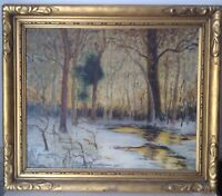 Antique Oil American Impressionist Painting Snowy Undergrowth Landscape Mckesson