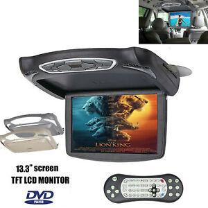 "13""1280P Car Flip Down DVD Player Monitor Video Car Top Roof Slim Wide Screen"