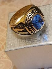 Fashion Jewellery gold plated high school ring in sizes 10 or 11 blue stone