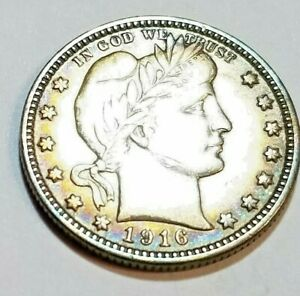 1916 D Barber Silver Quarter ~ Nice Toning XF++