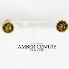 Italian Made Green Baltic Amber Studs In 9ct Gold GS0041G RRP £120!!!