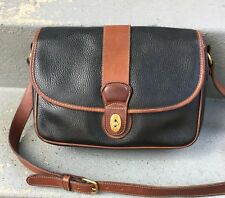 COACH Vintage USA Sheridan Black British Tan Leather CROSSBODY BAG